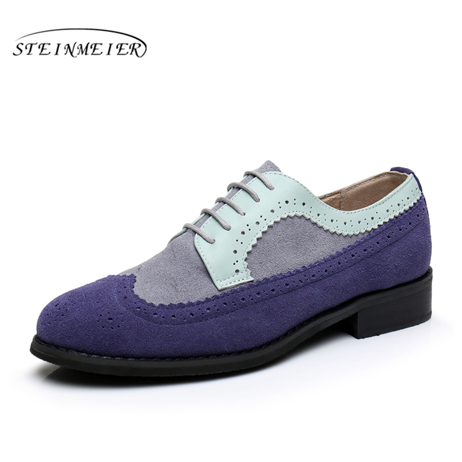 Women genuine leather flat shoes bullock round toe handmade 11 vintage blue 2017 sping oxford shoes for women with fur<br>