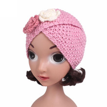 Children's hats Baby Girls Knitting Hat Flowers Beanie Turban Head Wrap Cap Pile Cap Autumn Winter Overalls baby hat