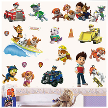 2017 3D Paws Patrols Wall Stickers Dogs Cartoon DIY Removable Wall Decals For Kids Room Girl Baby Bedroom Animal Home Decor