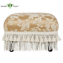 "Jennifer Taylor, Traditional Off-White Footstool,15""W x 12""D x 10""H"