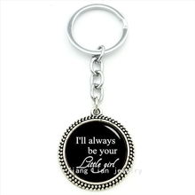 2016 Fine weding accessorues keychain  i'll  be your little girl text art pendant picture key holder broom jewelry T434