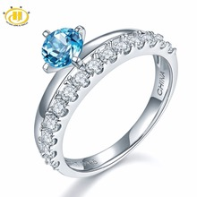 Hutang Natural Gemstone Blue Topaz Solid 925 Sterling Silver Heart Engagement Rings Fine Jewelry For Women Gift 2017 NEW(China)