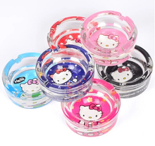 6 Colors Options Good Glasses Quality Kawaii Hello Kitty Car Ashtray Home Transparent Cinzeiro(China)