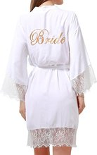 Women's Cotton Pure Color Short Kimono Robes with Gold Glitter for Bridesmaid and Bride,Wedding Party Getting Ready Robe with La(China)