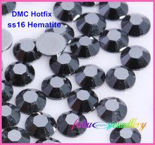 Free Shipping! 1440pcs/Lot, ss16 (3.8-4.0mm) High Quality DMC Jet Hematite Iron On Rhinestones / Hot fix Rhinestones(China)