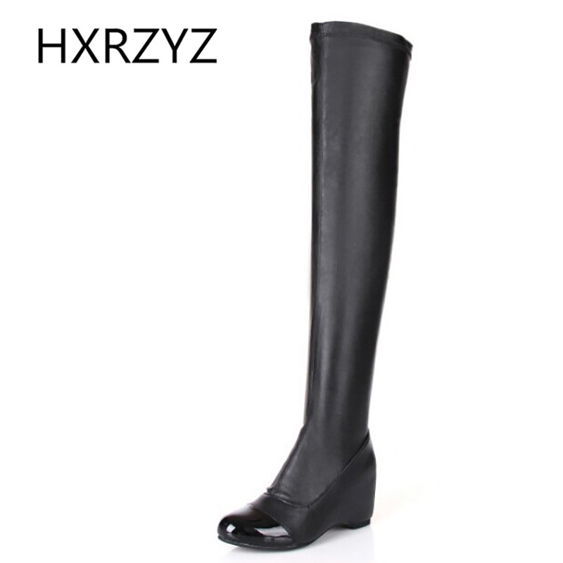 Spring Autumn Of Over Knee Boots Elastic Boots Women High Quality Height Increased Casual Leather Shoes Women Sexy Black Boots<br><br>Aliexpress