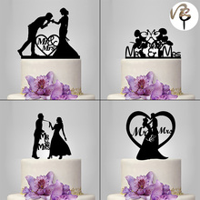 New Romantic Black Acrylic Cake Topper Mr Mrs Lover Cake Decorating Supplies For Wedding Decoration Valentine's Day