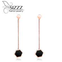 SIZZZ Long rose gold color drop earrings personality geometric black plating small earrings for women(China)