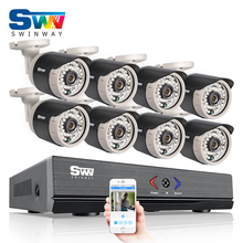 8CH HDMI 1080N AHD DVR CCTV Kit+8pcs&720P HD 1800TVL Outdoor Mini Camera Security Video Surveillance System Email Alarm
