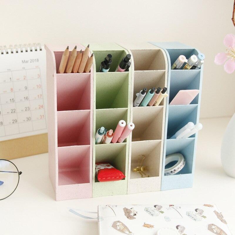 Mini Acrylic Pen Ruler Holder Case Desk Organizer 5 Colors