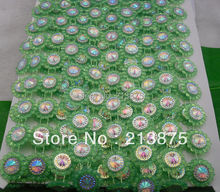 Free shipping 10Yards Green Plastic chain Costume Applique circular AB Resin Crystal Rhinestones Banding Trim Setting