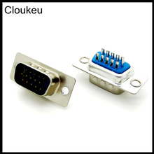 Cloukeu 5Pcs DB15 Pin Male Welded Connector VGA plug serial port DB15 adapter 3 row foot(China)