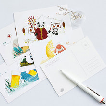 30 pcs/lot Cute Hand-drawn illustration postcard Cartoon animal greeting card christmas card birthday message card gift cards