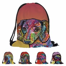 Fashion 3D Print Custom Dachshund Art Pet Dogs Double side Cheap Travel Backpack Child School Bag Drawstring Backpack