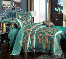 Lake blue Modal silk bedding sets lace jacquard queen king bed sets 200*230 220*240cm comforter cover flat sheet pillowcase 5732