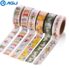 AAGU New Design 15mm*10m Individual Shrink Christmas Washi Tape Cute Animali Pattern Masking Tape Single Sided DIY Paper Tape