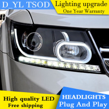 D_YL Car Styling for Dodge Journey Headlights 2009-2015 Journey LED Headlight DRL Lens Double Beam H7 HID Xenon bi xenon lens