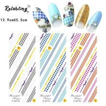 2017 Hot Sale Different Styles of Stripes Series Water Transfer Nail Sticker Fingernail Decorations Paper Fastener