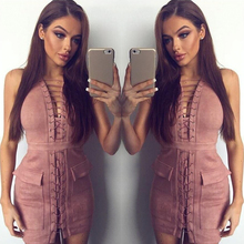 Women's New Pink Faux Suede Dress Real Photo Lady Cut Out Pocket Bandage Dress Sexy Party Mini Dress(China)