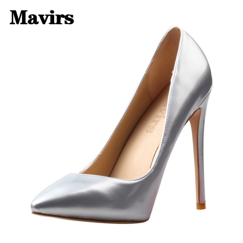 MAVIRS Brand Women Pumps  Pointed Silver Black High Heels Footwear Large Size Party Causal Stiletto Wedding Dress Shoes US 4-15 <br>