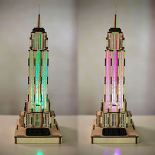 3D Wooden Empire State Building Puzzle - 3D Jigsaw, Sensor Light , 3D Wooden Toy Building Model Assembled 3D Puzzle DIY Manual(China)