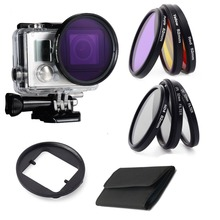 Gopro Accessories Diving Filter Yellow Red Purple UV CPL ND4 6pcs Underwater Dive Filtors for Go Pro Hero 3+/4 Waterproof case