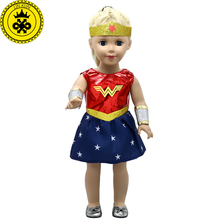 American Girl Doll Clothes Wonder Woman Cosplay Costume Doll Clothes for 18 inch Dolls Baby Born Doll Accessories MG-038