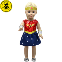 American Girl Doll Clothes Wonder Woman Cosplay Costume Doll Clothes for 18 inch Dolls Baby Born Doll Accessories MG-038(China)