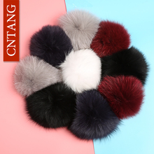CNTANG 15cm Real Raccoon Fur Fluffy Pompoms 100% Natural Genuine Fox Fur Pom Pom Cap Women Winter Hats Accessories High Quality(China)
