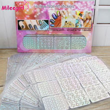 Mileegirl 96 Designs/Pack Square Hollow French Style Template Nail Stickers,Irregular Grid Stencil 3D Creative Nail Art Design