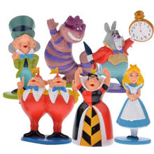 Hot classic MINI ALICE IN WONDERLAND PVC Cake Toppers Figure Toy 6pcs set