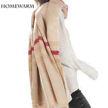 Winter Scarf  Women Tartan Scarves Tartan Plaid  Beige Cozy Checked Blanket Oversized Wrap Shawl Bandana Blanket Scarf