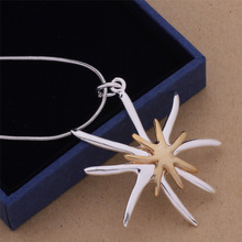 925-N113 Top Quality Pure Silver Jewelry Gold Sea Star Pendant Silver Necklace Women Accessories Factory Price