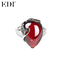 EDI 925 Sterling Silver & Marcasite Jewelry Antique Thai Silver Love Heart Red Natural Gemstones Garnet Wedding Rings for Women