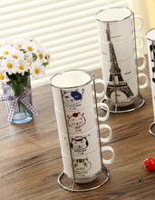 New Arrivals Ceramic Cartoon Cup Suit With Iron Stand Drawn With Eiffel Tower/Panda/Cool Cats/Hello Kitty/Doraemon/Mustache B014
