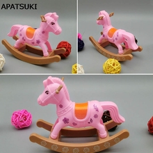 Kids Toy Play House Doll Accesorries Miniature Pink Hobbyhorse Cockhorse For 1/12 Kelly Dolls For Barbie Doll House Gifts(China)