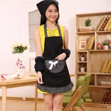 Cotton Schorten Working Chefs Kitchen aprons Cooking Cook Bib Apron Bowknots Pockets Aprons For Woman 4colors