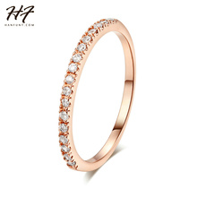 Top Quality Classical Cubic Zirconia Wedding Ring Rose Gold Color Silver Color CZ Austrian Crystals Wholesale R132 R133(China)