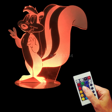 Free Shipping 1Piece Looney Tunes Pepe Le Pew 3D Bulbing Light USB Desk Lamp Cute Gift for Kids
