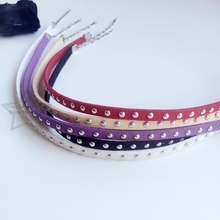 Handmade 5mm Colorful Suede Fabric Rivet & Stainless Steel Jewelry Choker Necklaces(China)