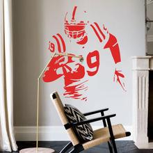 Art fashion design name quote vinyl Rugby player cheap wall sticker removable fashion USA football athlete decals for shop club(China)