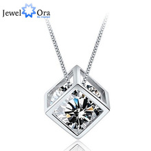 Cubic Zirconia Cube Necklaces & Pendants New 2015 Fashion  Jewelry Women Necklace (Jewelora PE101308)