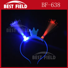 Free shipping 2pcs/lot led optical fiber headwear Princess Light Up Headband Flashing Crown Blinking LED Party Supply