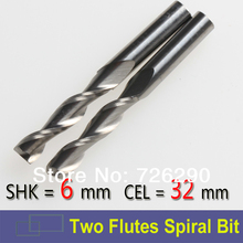 2pcs Shank 6mm x32mm Two Flutes Carbide CNC Millinging Tool,Spiral Milling Cutters,Wooden Cutter, in CNC Tools Kit