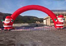 10mW outdoor advertising inflatable christmas arches with double santa claus inflatable santa arch for christmas day