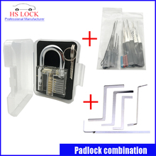 Clear practice lock set with 5Pcs Used Locksmith Tools  Replacement Turning Tool Tension Tools broken key extractor