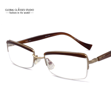 Rectangle Lens Elegant Design Women Eyebrow Gold Metal Frame Demi Color Acetate Temple Flex Hinge Italy Design Eyeglass LX-B0037