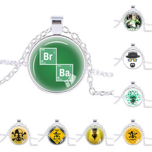 Breaking Bad necklace Silver plated Br Ba pendant Accessories quote jewelry unique Wedding gifts for men green white