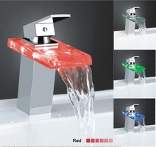 led waterfall basin bathroom faucet light with led lights change color according to water temperature(China)