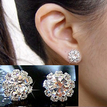2015 hot sell New 1 Pair FASHION Special Rhinestone Crystal Flower Stud Earrings Charm Jewelry for Women girls 56GB